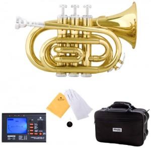 Mendini MPT-L Lacquer Brass Bb Pocket Trumpet, Gold